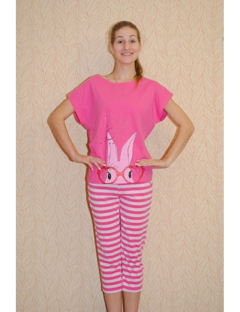 Костюм с бриджами Indefini арт.233805 футболка с бриджами